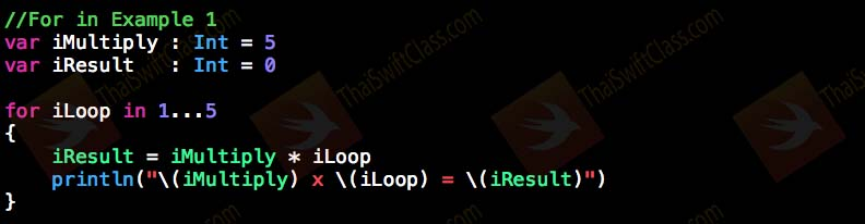 ThaiSwiftClass Control Flow For Loop in 1