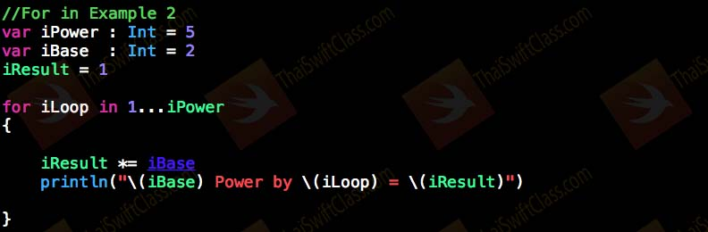 ThaiSwiftClass Control Flow For Loop in 2