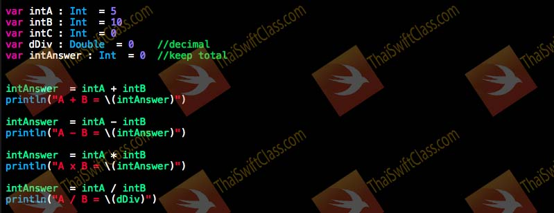 ThaiSwiftClass Operator and Condition coding 1