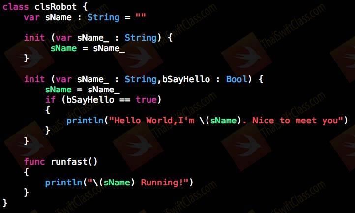 ThaiSwiftClass OOP Class init Example